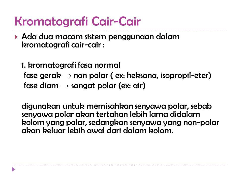  Ada dua macam sistem penggunaan dalam kromatografi cair-cair : 1. kromatografi fasa normal fase gerak → non polar ( ex: heksana, isopropil-eter) fas