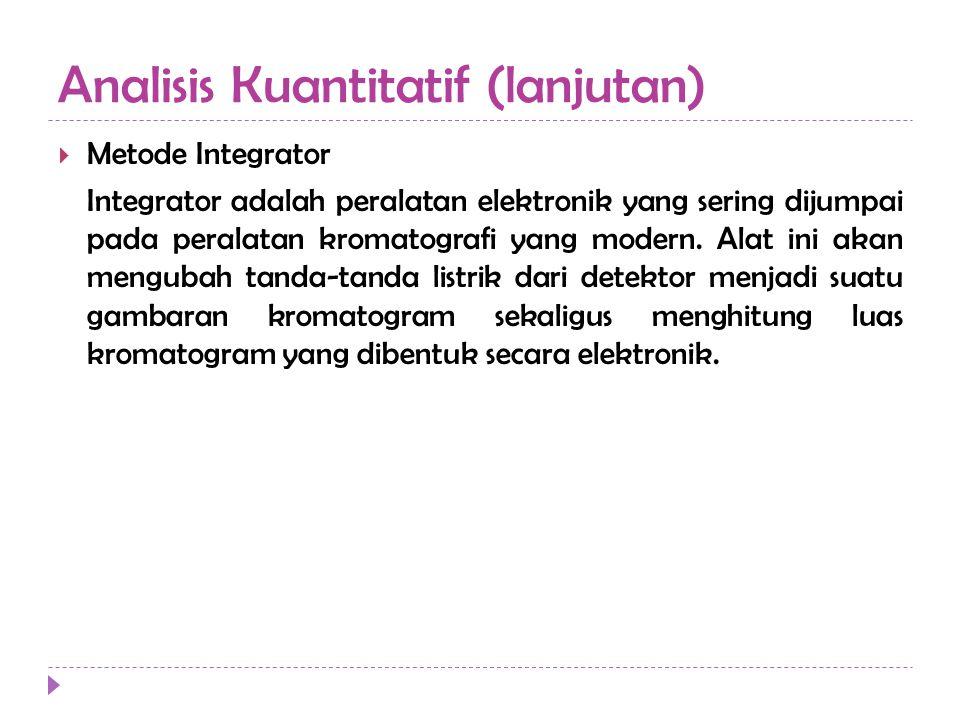 Analisis Kuantitatif (lanjutan)  Metode Integrator Integrator adalah peralatan elektronik yang sering dijumpai pada peralatan kromatografi yang moder