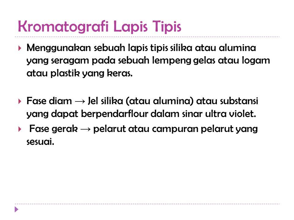 Kromatografi Lapis Tipis  Menggunakan sebuah lapis tipis silika atau alumina yang seragam pada sebuah lempeng gelas atau logam atau plastik yang keras.