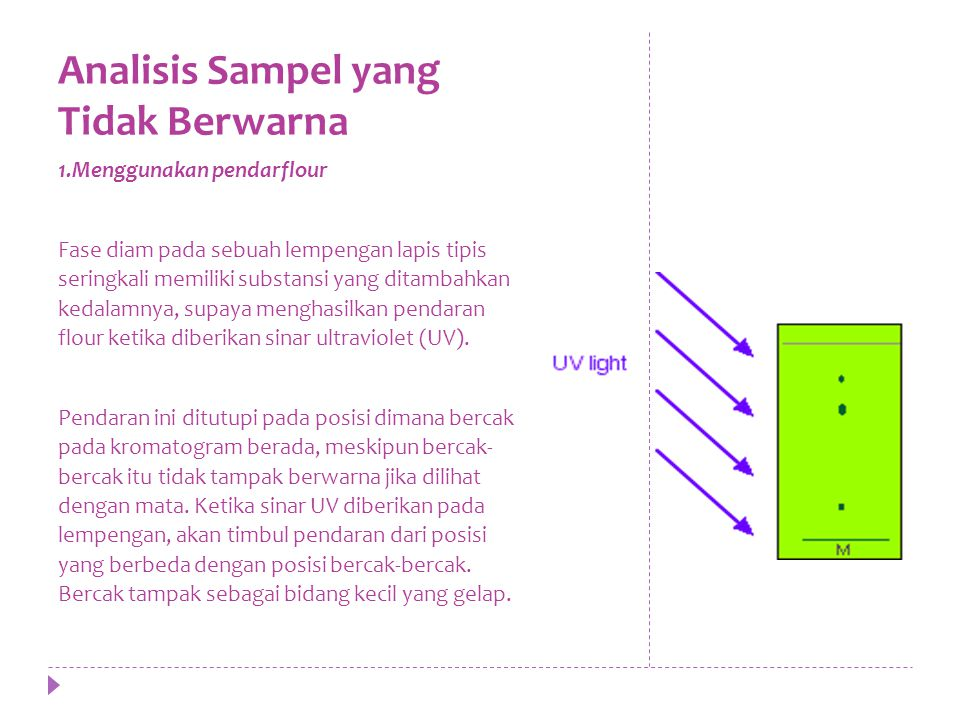 Analisis Sampel yang Tidak Berwarna 1.Menggunakan pendarflour Fase diam pada sebuah lempengan lapis tipis seringkali memiliki substansi yang ditambahkan kedalamnya, supaya menghasilkan pendaran flour ketika diberikan sinar ultraviolet (UV).