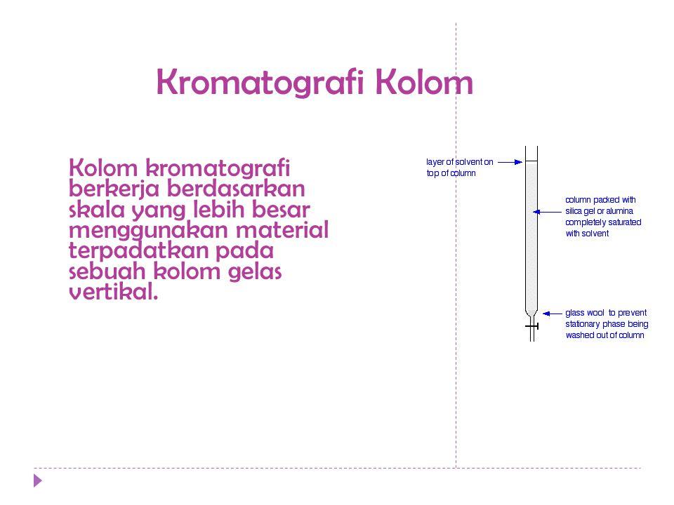 Kromatografi Kolom Kolom kromatografi berkerja berdasarkan skala yang lebih besar menggunakan material terpadatkan pada sebuah kolom gelas vertikal.