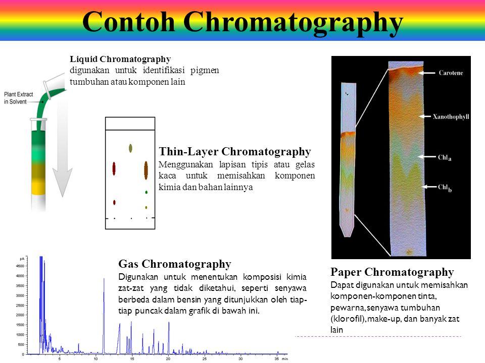 Gas Chromatography Digunakan untuk menentukan komposisi kimia zat-zat yang tidak diketahui, seperti senyawa berbeda dalam bensin yang ditunjukkan oleh tiap- tiap puncak dalam grafik di bawah ini.