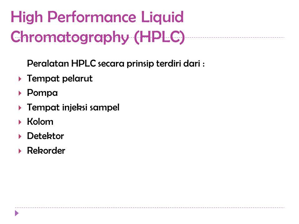 High Performance Liquid Chromatography (HPLC) Peralatan HPLC secara prinsip terdiri dari :  Tempat pelarut  Pompa  Tempat injeksi sampel  Kolom  Detektor  Rekorder