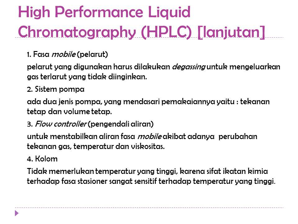 High Performance Liquid Chromatography (HPLC) [lanjutan] 1. Fasa mobile (pelarut) pelarut yang digunakan harus dilakukan degassing untuk mengeluarkan