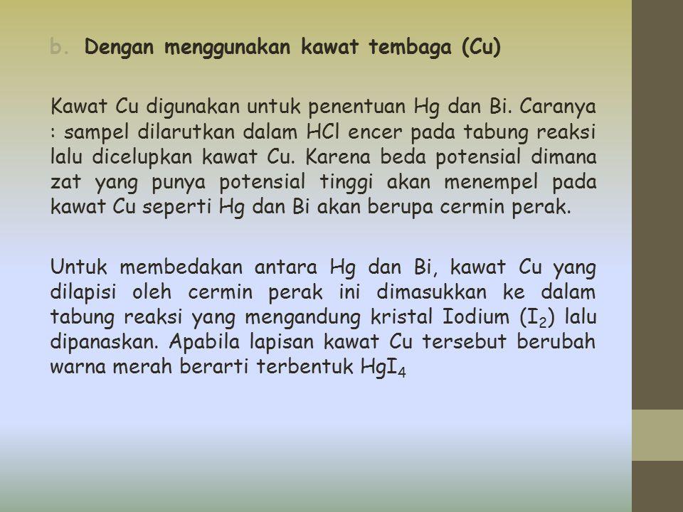 b.Dengan menggunakan kawat tembaga (Cu) Kawat Cu digunakan untuk penentuan Hg dan Bi. Caranya : sampel dilarutkan dalam HCl encer pada tabung reaksi l