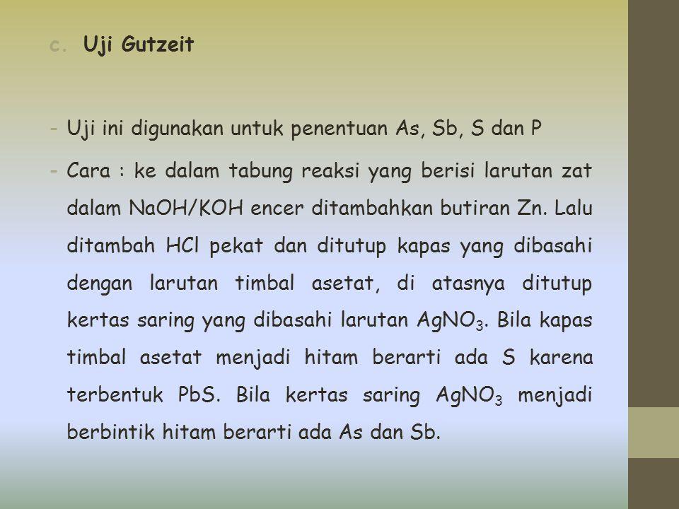 c.Uji Gutzeit -Uji ini digunakan untuk penentuan As, Sb, S dan P -Cara : ke dalam tabung reaksi yang berisi larutan zat dalam NaOH/KOH encer ditambahk