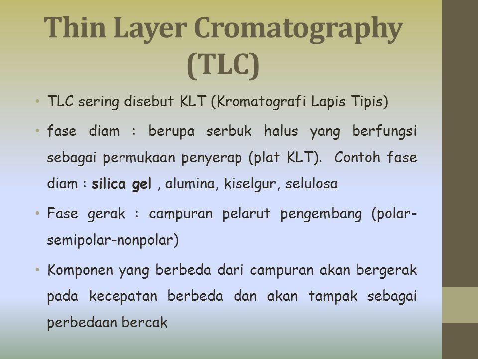 Thin Layer Cromatography (TLC) TLC sering disebut KLT (Kromatografi Lapis Tipis) fase diam : berupa serbuk halus yang berfungsi sebagai permukaan peny
