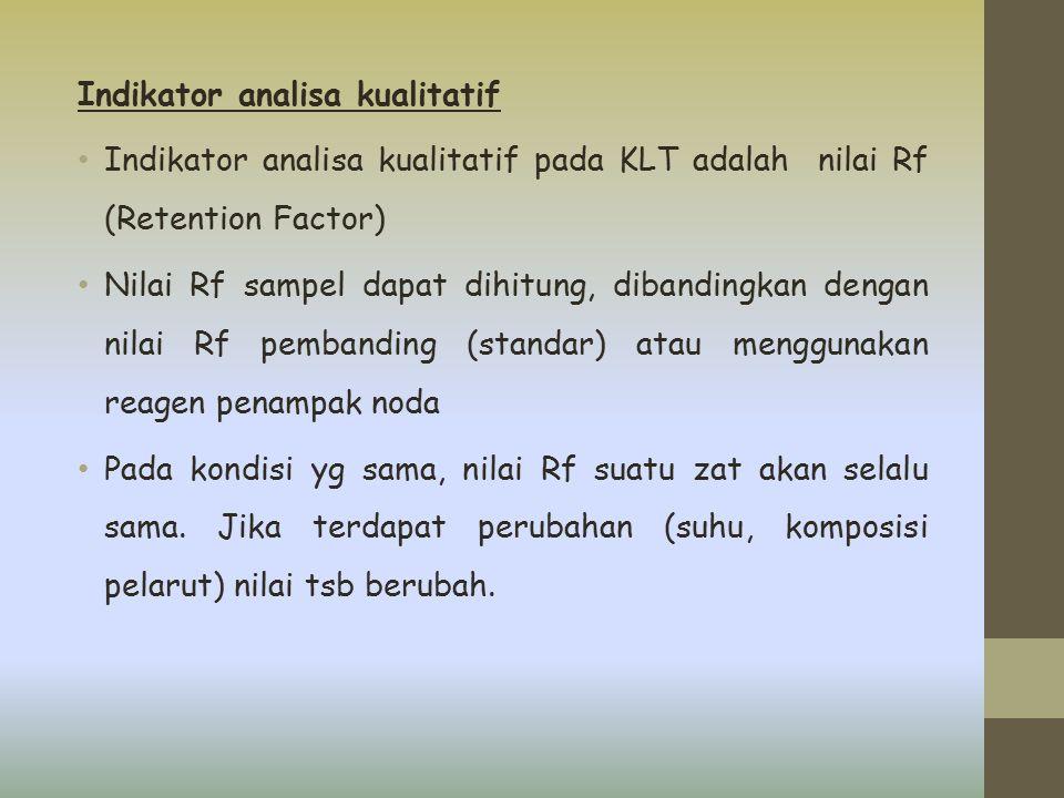 Indikator analisa kualitatif Indikator analisa kualitatif pada KLT adalah nilai Rf (Retention Factor) Nilai Rf sampel dapat dihitung, dibandingkan den