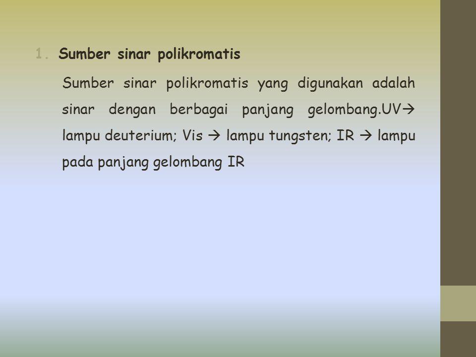 1.Sumber sinar polikromatis Sumber sinar polikromatis yang digunakan adalah sinar dengan berbagai panjang gelombang.UV  lampu deuterium; Vis  lampu