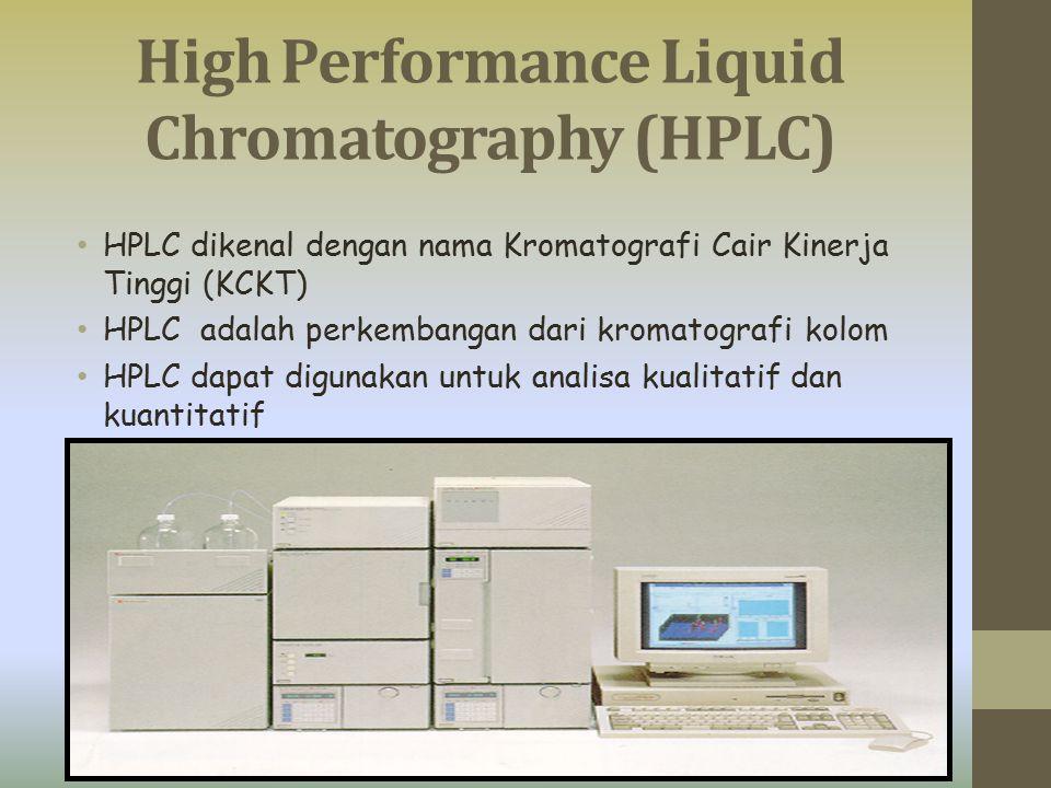 High Performance Liquid Chromatography (HPLC) HPLC dikenal dengan nama Kromatografi Cair Kinerja Tinggi (KCKT) HPLC adalah perkembangan dari kromatogr