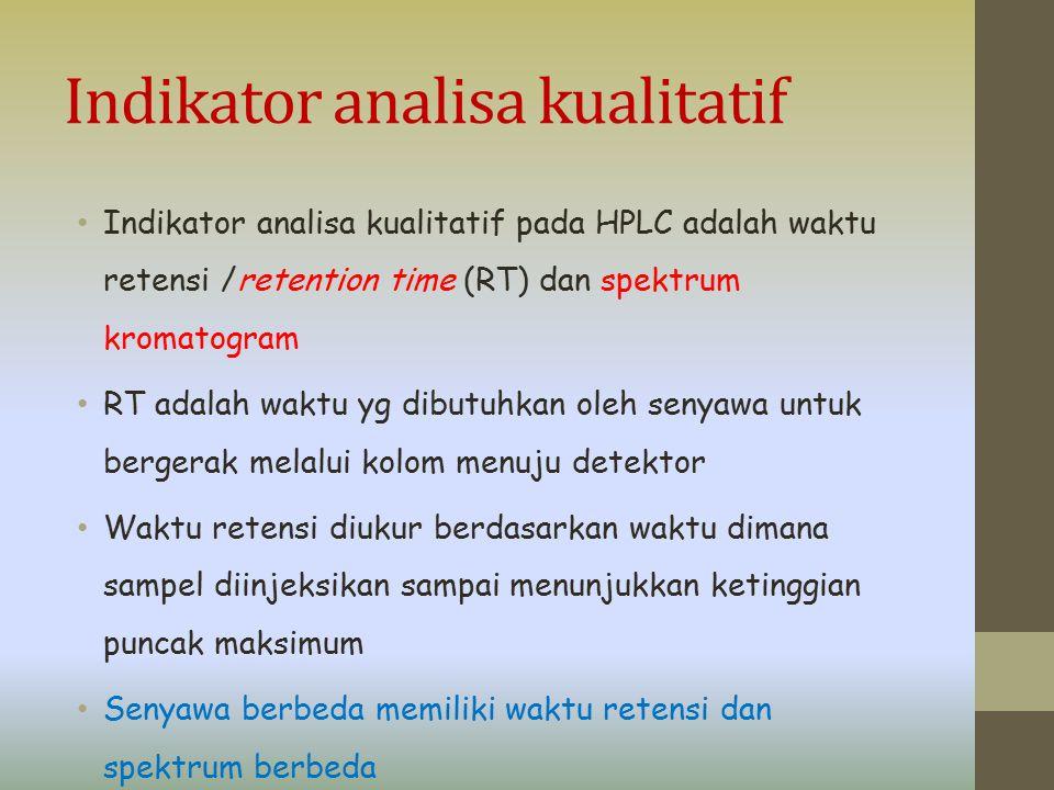 Indikator analisa kualitatif Indikator analisa kualitatif pada HPLC adalah waktu retensi /retention time (RT) dan spektrum kromatogram RT adalah waktu