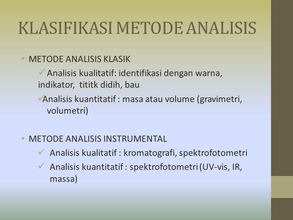 KLASIFIKASI METODE ANALISIS METODE ANALISIS KLASIK Analisis kualitatif: identifikasi dengan warna, indikator, tititk didih, bau Analisis kuantitatif :
