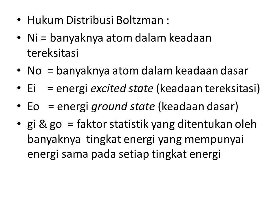 Hukum Distribusi Boltzman : Ni = banyaknya atom dalam keadaan tereksitasi No = banyaknya atom dalam keadaan dasar Ei = energi excited state (keadaan tereksitasi) Eo = energi ground state (keadaan dasar) gi & go = faktor statistik yang ditentukan oleh banyaknya tingkat energi yang mempunyai energi sama pada setiap tingkat energi