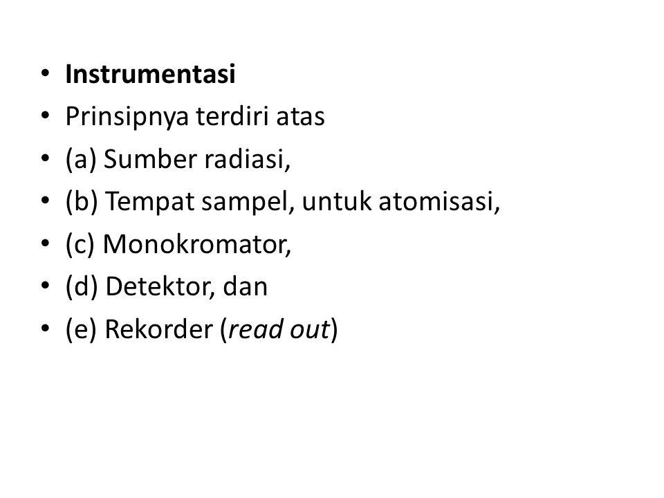 Instrumentasi Prinsipnya terdiri atas (a) Sumber radiasi, (b) Tempat sampel, untuk atomisasi, (c) Monokromator, (d) Detektor, dan (e) Rekorder (read out)