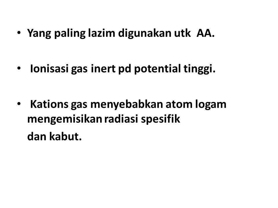 Yang paling lazim digunakan utk AA.Ionisasi gas inert pd potential tinggi.