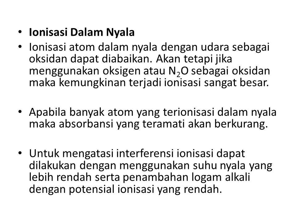 Ionisasi Dalam Nyala Ionisasi atom dalam nyala dengan udara sebagai oksidan dapat diabaikan.