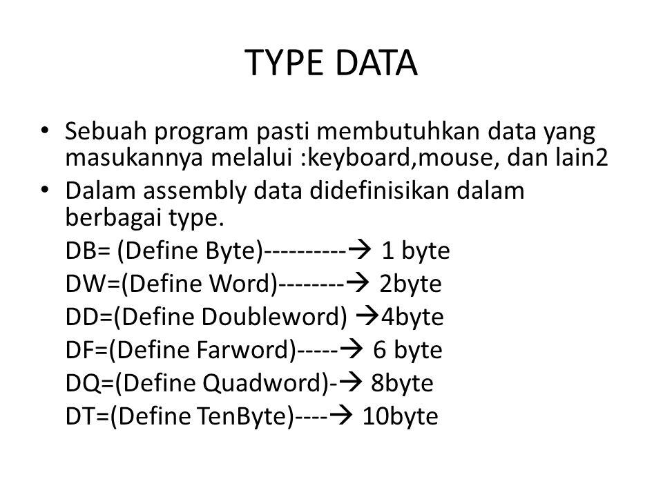 Contoh mendefinisikan data dalam Assembly ADB05h;1byte,nilai awal='5' AADB25h,3Bh,10h ;3byte,nilai awal=25h,3Bh,10h ABCDB'Ahay..!!';8byte,berisi 8 karakter.