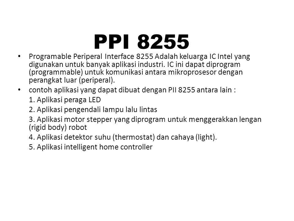 Programable Periperal Interface 8255 Adalah keluarga IC Intel yang digunakan untuk banyak aplikasi industri. IC ini dapat diprogram (programmable) unt