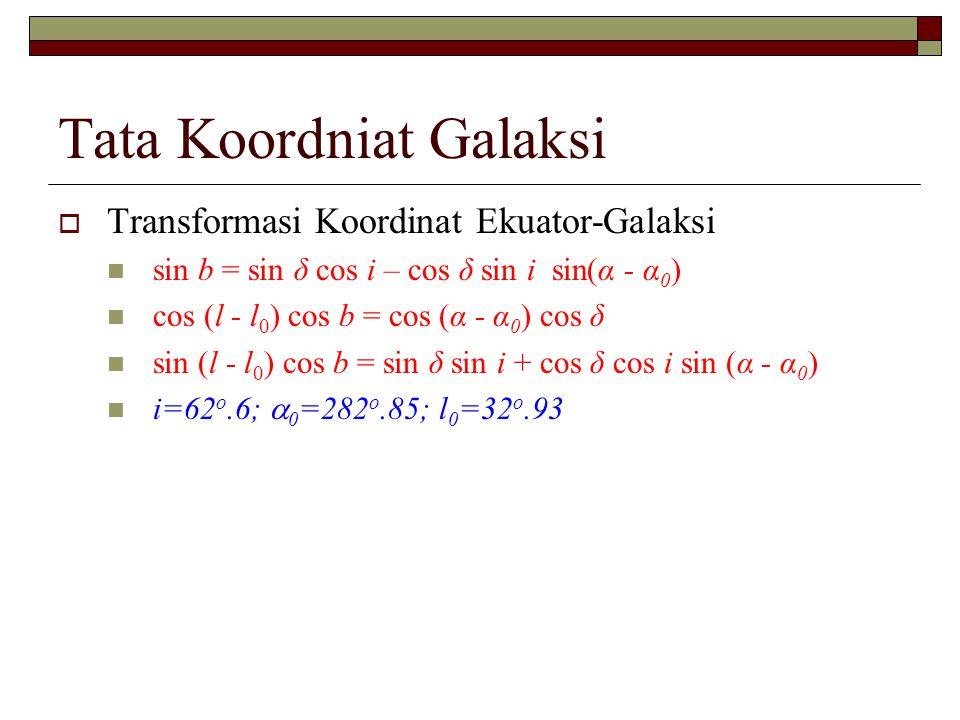  Transformasi Koordinat Ekuator-Galaksi sin b = sin δ cos i – cos δ sin i sin(α - α 0 ) cos (l - l 0 ) cos b = cos (α - α 0 ) cos δ sin (l - l 0 ) co