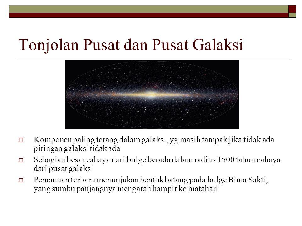 Tonjolan Pusat dan Pusat Galaksi  Komponen paling terang dalam galaksi, yg masih tampak jika tidak ada piringan galaksi tidak ada  Sebagian besar ca