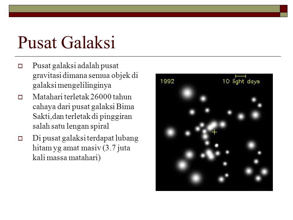 Pusat Galaksi  Pusat galaksi adalah pusat gravitasi dimana semua objek di galaksi mengelilinginya  Matahari terletak 26000 tahun cahaya dari pusat g