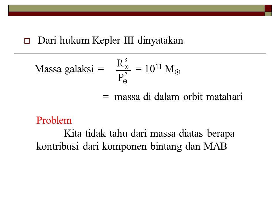  Dari hukum Kepler III dinyatakan Massa galaksi == 10 11 M  = massa di dalam orbit matahari Problem Kita tidak tahu dari massa diatas berapa kontrib