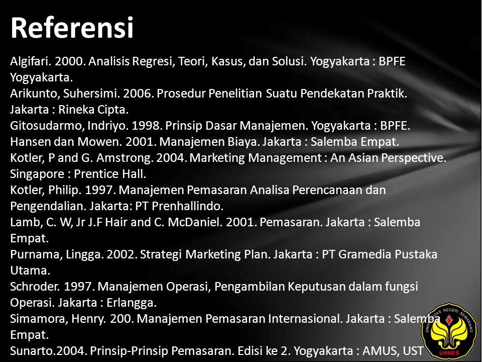 Referensi Algifari. 2000. Analisis Regresi, Teori, Kasus, dan Solusi.
