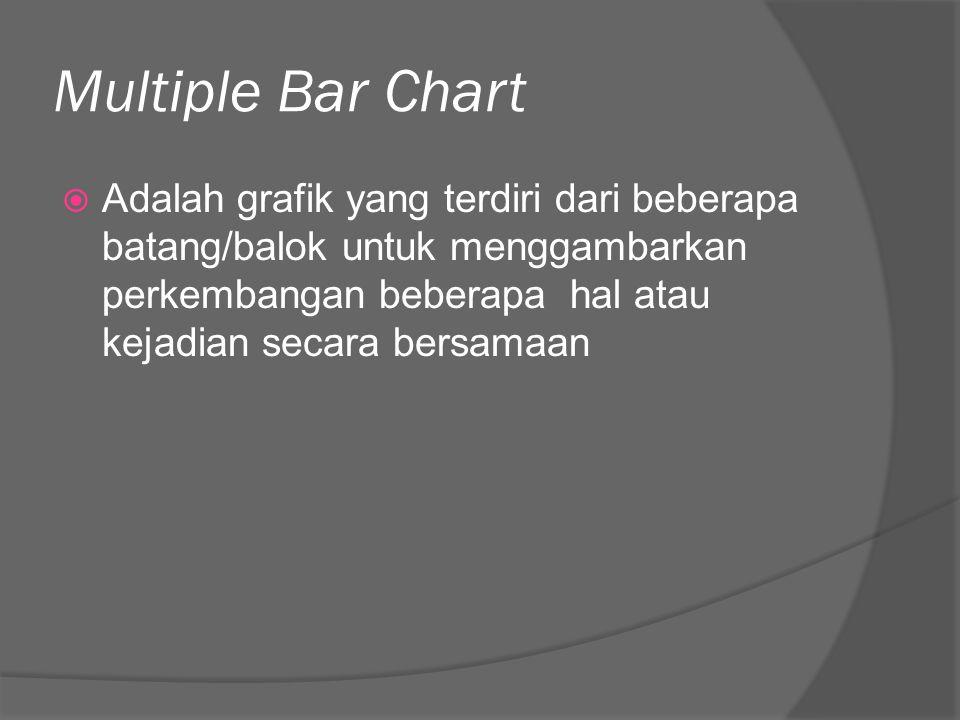 Multiple Bar Chart  Adalah grafik yang terdiri dari beberapa batang/balok untuk menggambarkan perkembangan beberapa hal atau kejadian secara bersamaa