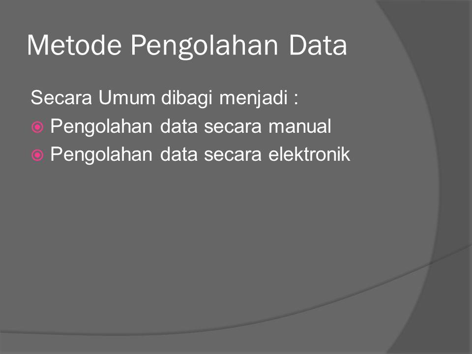Pengolahan data secara manual  Dilakukan untuk jumlah observasi yang tidak terlalu banyak  Memerlukan waktu yang sangat lama  Contoh: Pelaksanaan pemilu menggunakan tally mark