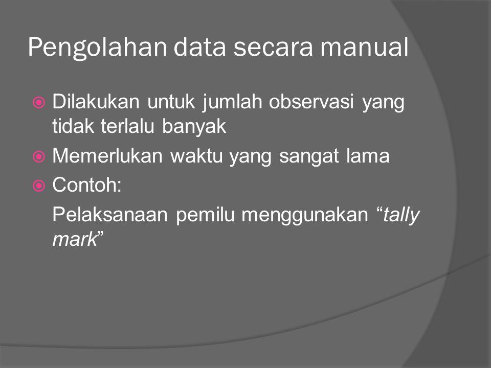 Pengolahan data secara manual  Dilakukan untuk jumlah observasi yang tidak terlalu banyak  Memerlukan waktu yang sangat lama  Contoh: Pelaksanaan p