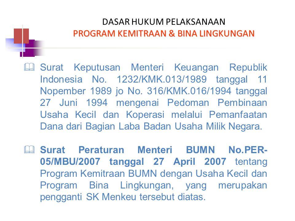 PROGRAM KEMITRAAN & BINA LINGKUNGAN DASAR HUKUM PELAKSANAAN PROGRAM KEMITRAAN & BINA LINGKUNGAN  Surat Keputusan Menteri Keuangan Republik Indonesia