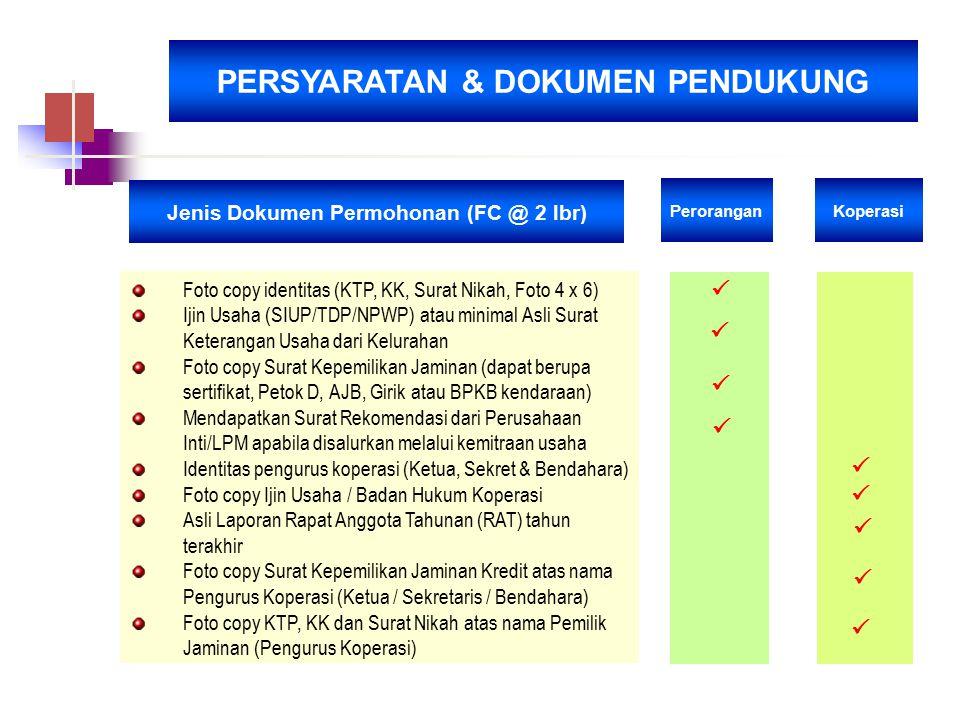 PERSYARATAN & DOKUMEN PENDUKUNG Jenis Dokumen Permohonan (FC @ 2 lbr) Perorangan Koperasi Foto copy identitas (KTP, KK, Surat Nikah, Foto 4 x 6) Ijin