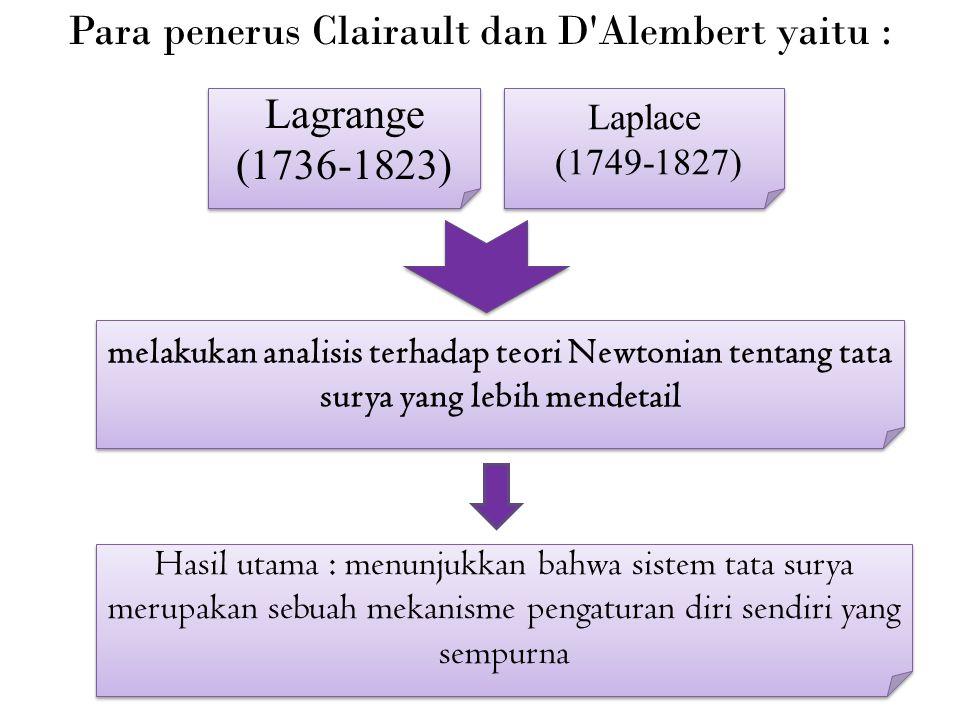 Para penerus Clairault dan D Alembert yaitu : Lagrange (1736-1823) Laplace (1749-1827) Laplace (1749-1827) melakukan analisis terhadap teori Newtonian tentang tata surya yang lebih mendetail Hasil utama : menunjukkan bahwa sistem tata surya merupakan sebuah mekanisme pengaturan diri sendiri yang sempurna