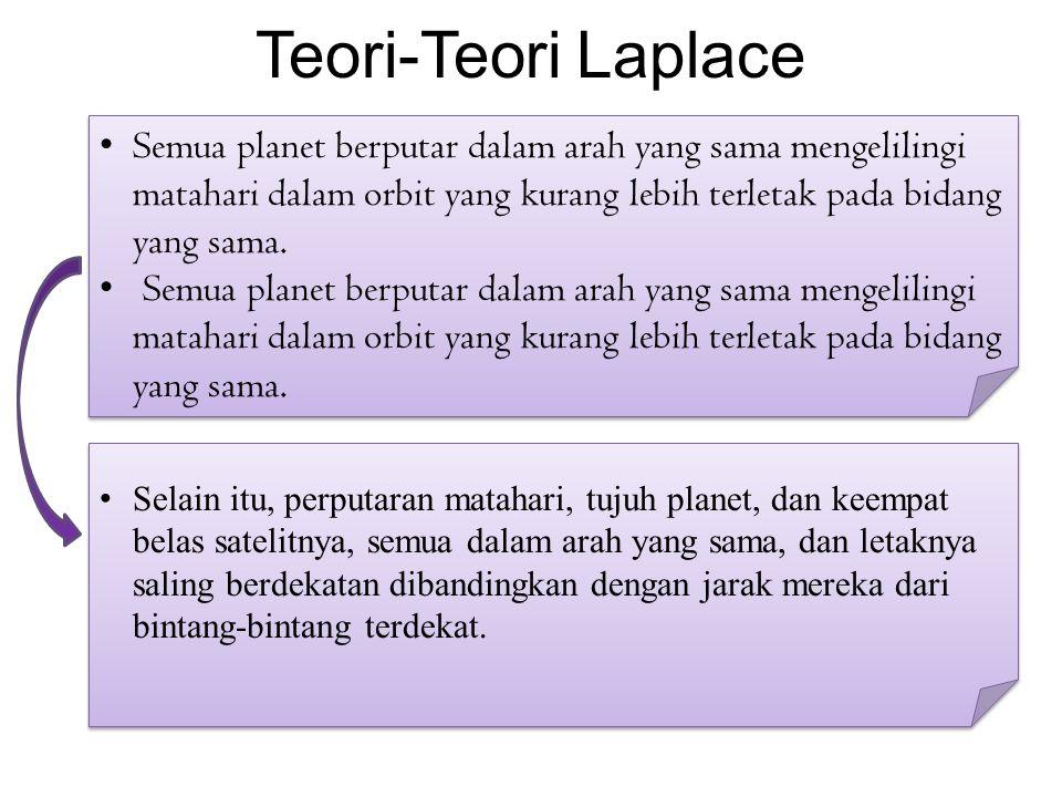Teori-Teori Laplace Semua planet berputar dalam arah yang sama mengelilingi matahari dalam orbit yang kurang lebih terletak pada bidang yang sama.
