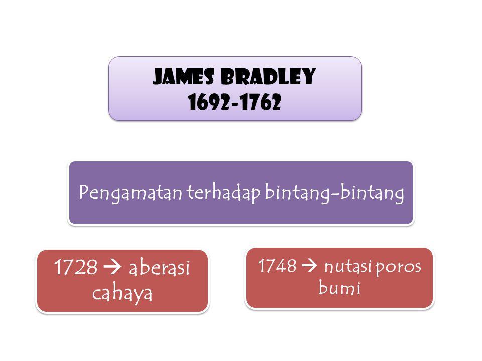 James Bradley 1692-1762 James Bradley 1692-1762 Pengamatan terhadap bintang-bintang 1728  aberasi cahaya 1748  nutasi poros bumi