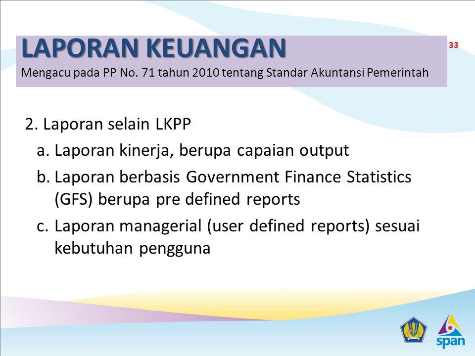 LAPORAN KEUANGAN LAPORAN KEUANGAN Mengacu pada PP No. 71 tahun 2010 tentang Standar Akuntansi Pemerintah 2. Laporan selain LKPP a.Laporan kinerja, ber