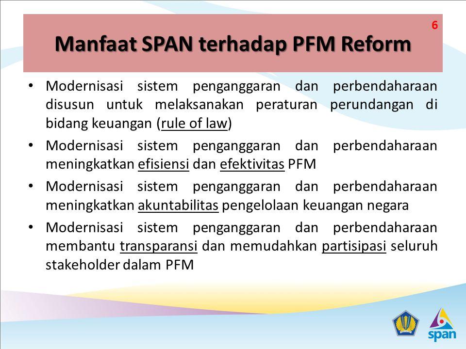Manfaat SPAN terhadap PFM Reform Modernisasi sistem penganggaran dan perbendaharaan disusun untuk melaksanakan peraturan perundangan di bidang keuangan (rule of law) Modernisasi sistem penganggaran dan perbendaharaan meningkatkan efisiensi dan efektivitas PFM Modernisasi sistem penganggaran dan perbendaharaan meningkatkan akuntabilitas pengelolaan keuangan negara Modernisasi sistem penganggaran dan perbendaharaan membantu transparansi dan memudahkan partisipasi seluruh stakeholder dalam PFM 6