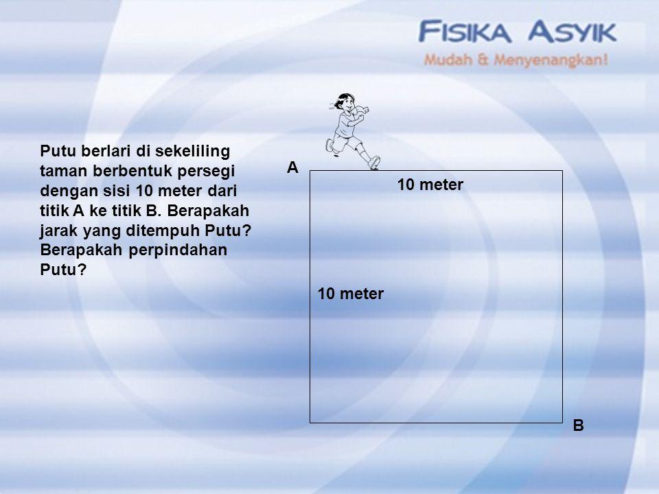Kecepatan dan kelajuan? 200 m 250 m 150 m A B C Jika Budi bergerak dari A ke C dalam waktu 5 detik maka : Kelajuannya = Kecepatannya = 90 m/s 30 m/s