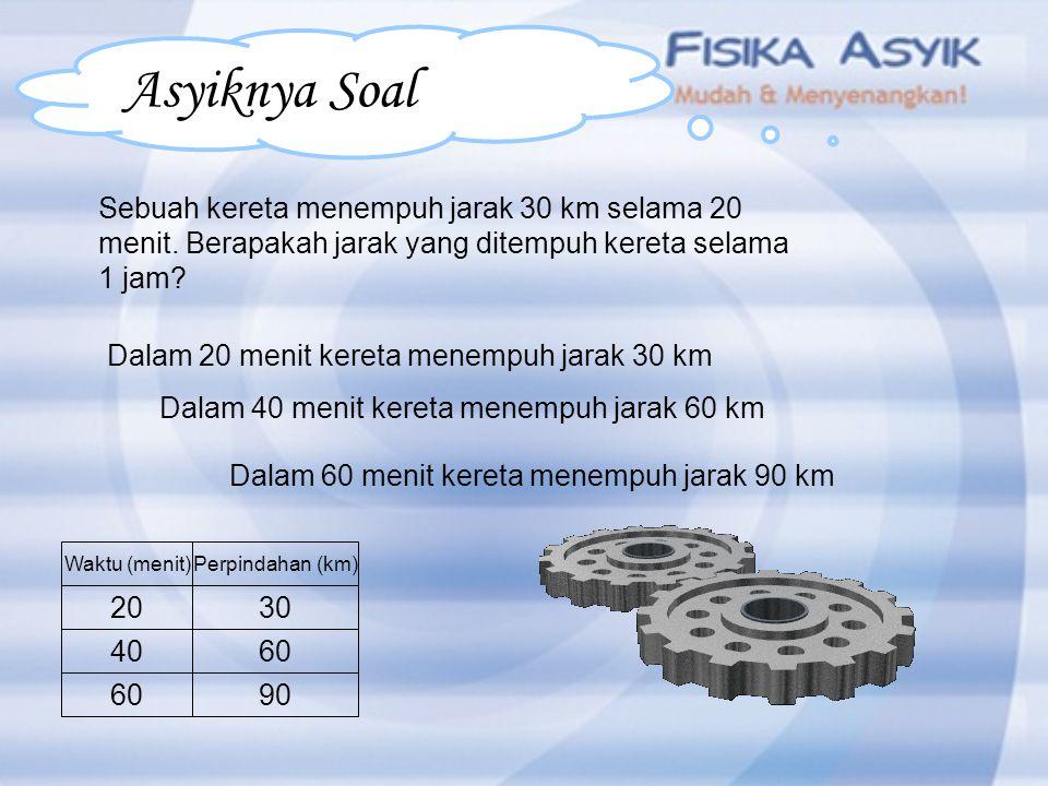 Tami bergerak dengan kecepatan m/s. Berapa jauh jarak yang ditempuh dalam waktu s? 1 sm ? Asyiknya Soal m/s s