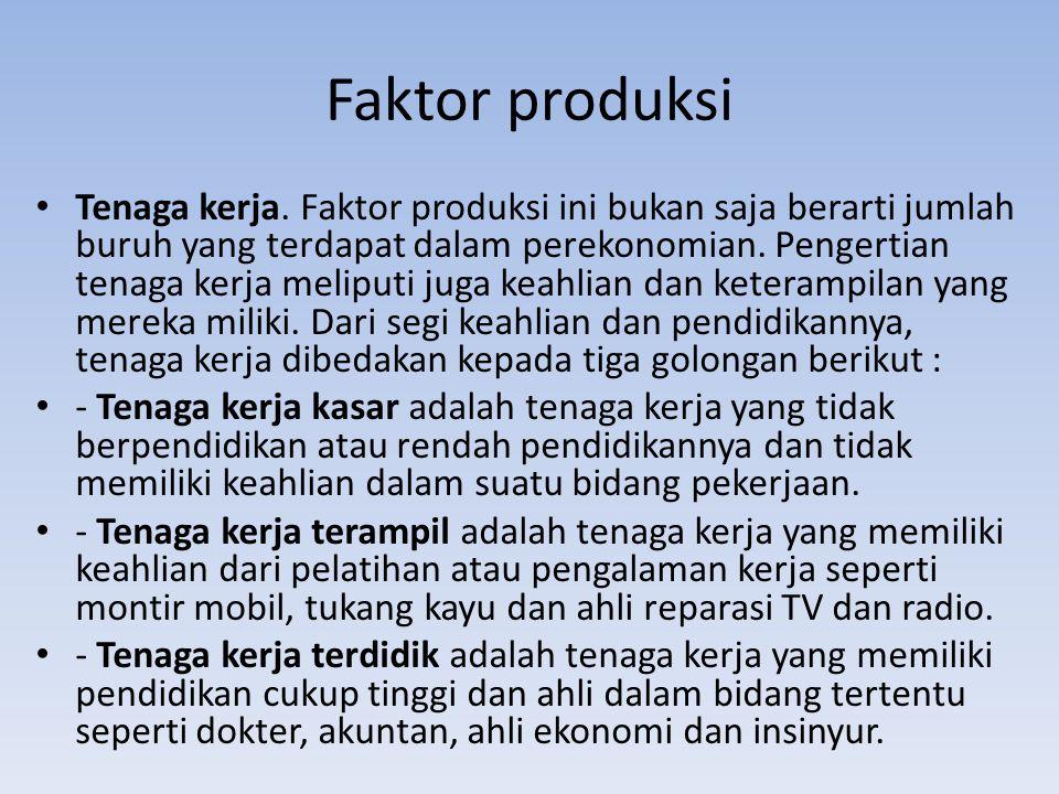 Faktor produksi Tenaga kerja.