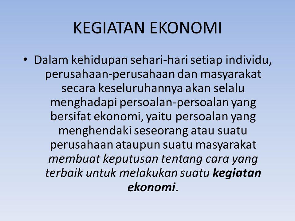 KEGIATAN EKONOMI kegiatan ekonomi dapat didefinisikan sebagai kegiatan seseorang atau suatu perusahaan ataupun suatu masyarakat untuk memproduksi barang dan jasa maupun mengkonsumsi (menggunakan) barang dan jasa tersebut.