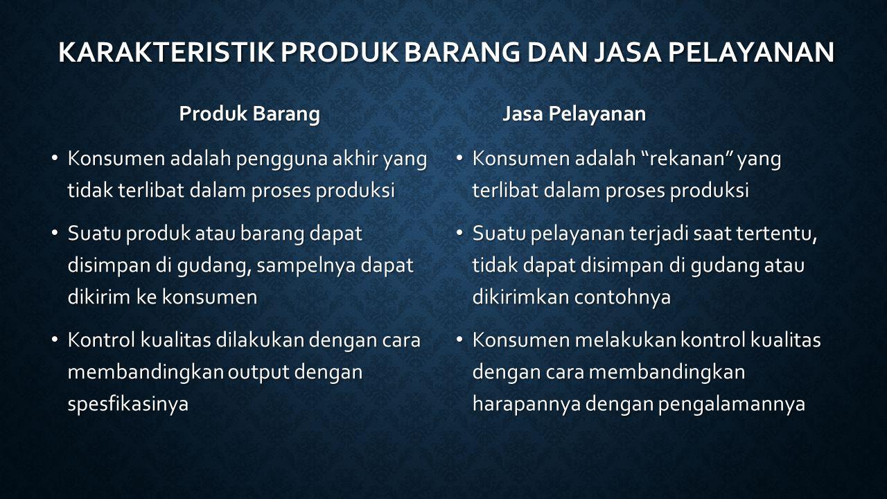 Produk Barang Jasa Pelayanan Konsumen adalah pengguna akhir yang tidak terlibat dalam proses produksi Konsumen adalah pengguna akhir yang tidak terlib