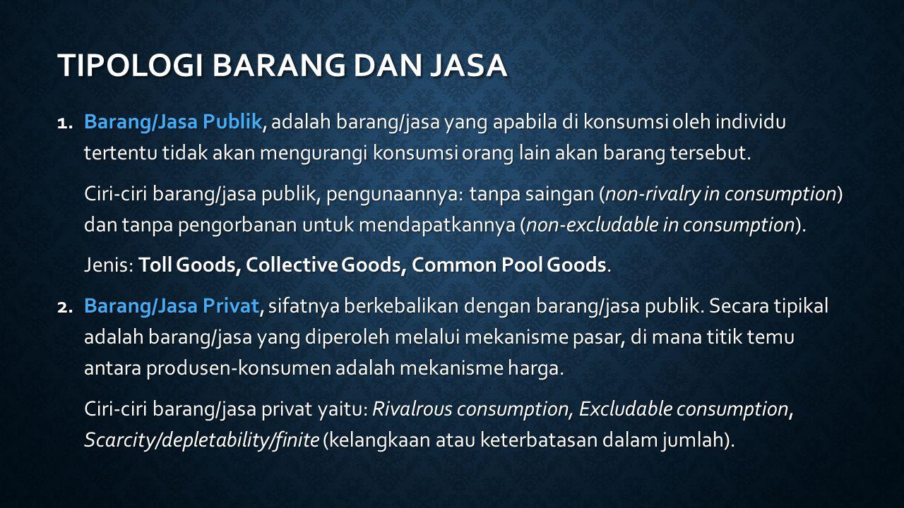 TIPOLOGI BARANG DAN JASA 1.Barang/Jasa Publik, adalah barang/jasa yang apabila di konsumsi oleh individu tertentu tidak akan mengurangi konsumsi orang lain akan barang tersebut.