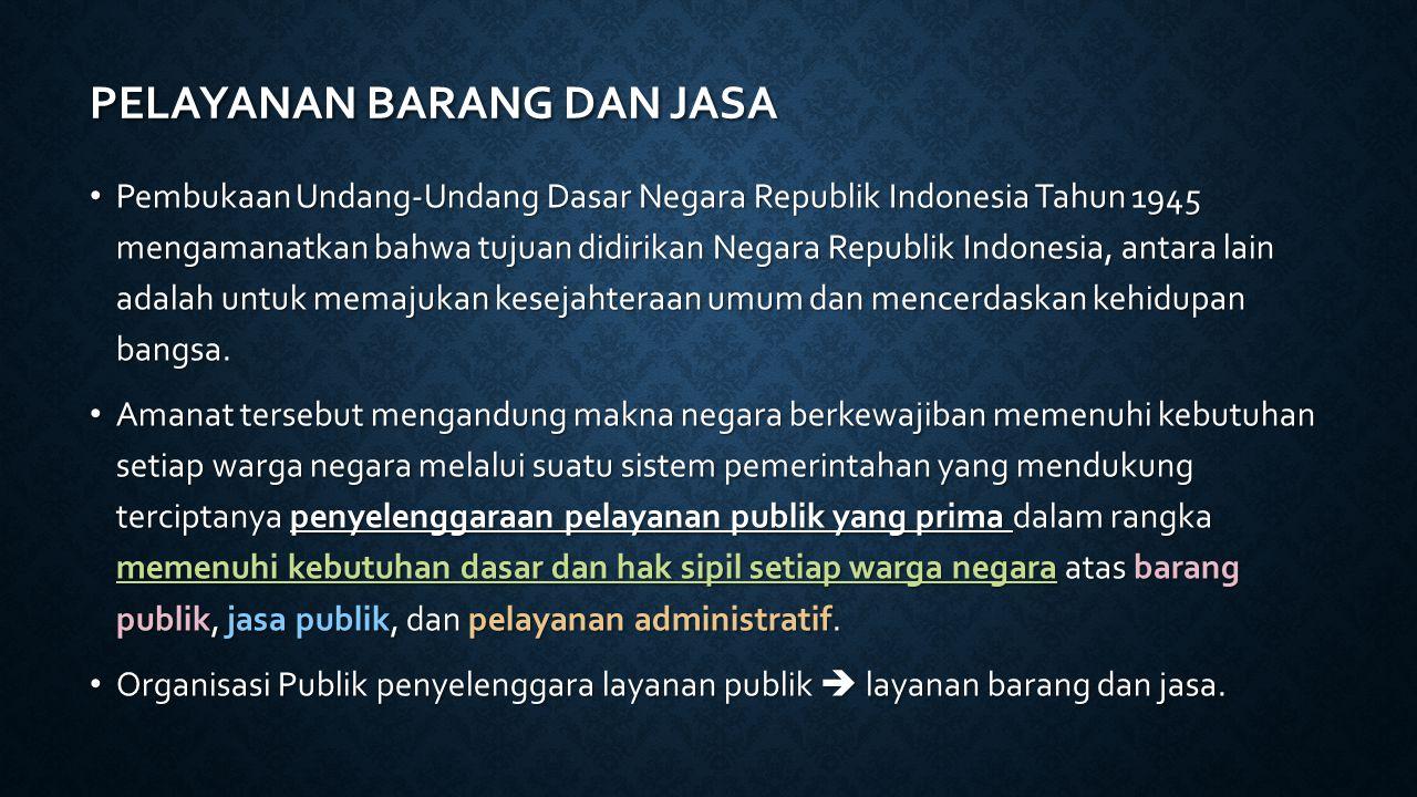 PELAYANAN BARANG DAN JASA Pembukaan Undang-Undang Dasar Negara Republik Indonesia Tahun 1945 mengamanatkan bahwa tujuan didirikan Negara Republik Indonesia, antara lain adalah untuk memajukan kesejahteraan umum dan mencerdaskan kehidupan bangsa.