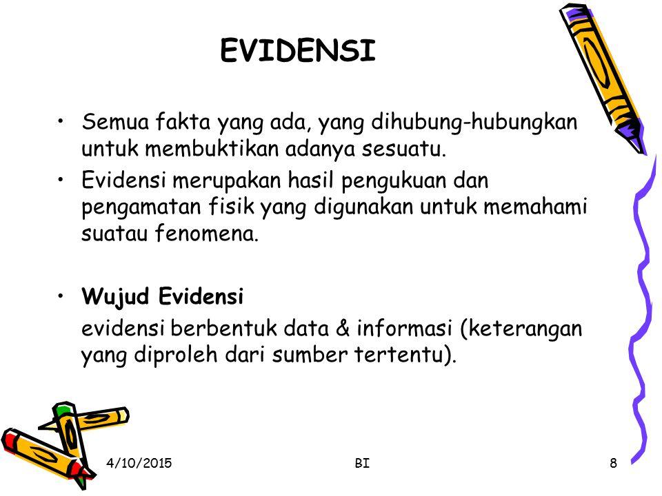 EVIDENSI Semua fakta yang ada, yang dihubung-hubungkan untuk membuktikan adanya sesuatu.