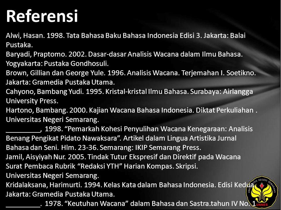 Referensi Alwi, Hasan. 1998. Tata Bahasa Baku Bahasa Indonesia Edisi 3.