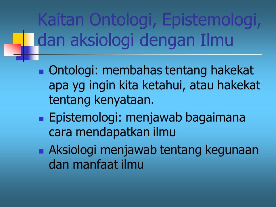 Kaitan Ontologi, Epistemologi, dan aksiologi dengan Ilmu Ontologi: membahas tentang hakekat apa yg ingin kita ketahui, atau hakekat tentang kenyataan.