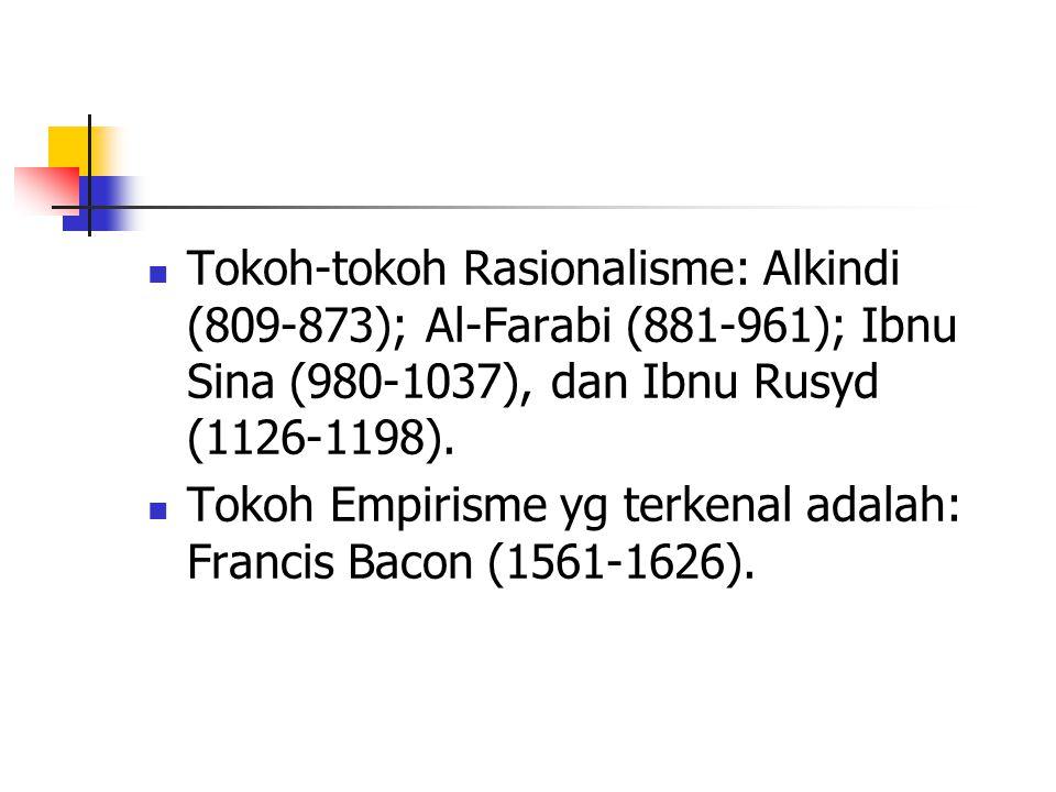 Tokoh-tokoh Rasionalisme: Alkindi (809-873); Al-Farabi (881-961); Ibnu Sina (980-1037), dan Ibnu Rusyd (1126-1198). Tokoh Empirisme yg terkenal adalah