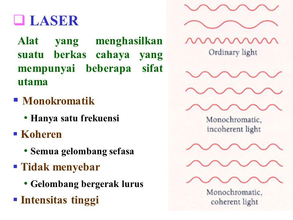  LASER  Monokromatik Hanya satu frekuensi  Koheren Semua gelombang sefasa  Tidak menyebar Gelombang bergerak lurus  Intensitas tinggi Alat yang m