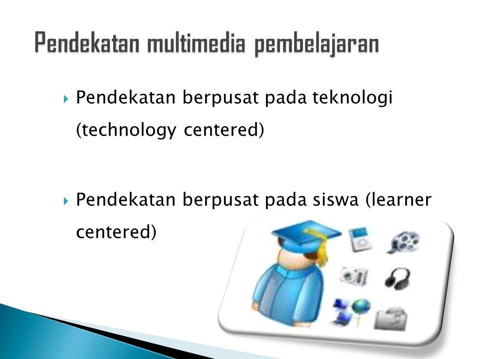PendekatanIde awalTujuanIsu-isu Berpusat pada teknologi Kapabilitas- kapabilitas teknologi multimedia Memberi akses ke informasi Bagaimana kita menggunakan teknologi canggih dalam mendesain presentasi multimedia Berpusat ke siswa Bagaimana otak manusia bekerja Membantu kognisi manusia Bagaimana kita mengadaptasi teknologi multimedia untuk membantu kognisi manusia.